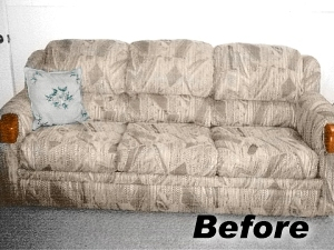 old couch before fabric spray paint