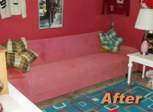 groovy pink sofa after fabric spray paint for upholstery