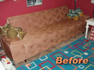brown sofa before fabric spray paint