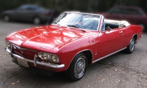 corvair convertable refurbished with fabric spray paint