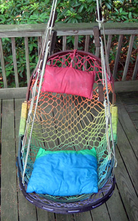 rainbow outdoor rope chair painted with fabric spray piant