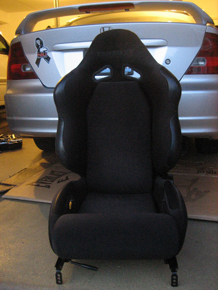 car seats spray painted with Simply Spray Upholstery Paint